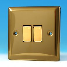 Varilight 2 Gang 2 Way 10A Rocker Light Switch Victorian Brass Dec Switch - XV2D